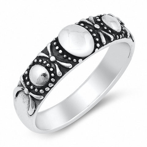 Bali Band Ring Oxidized Solid 925 Sterling Silver Choose Color
