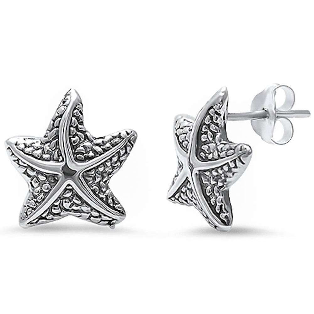 12mm Starfish Earrings 925 Sterling Silver Simple Plain Starfish Stud Nautical Jewelry - Blue Apple Jewelry