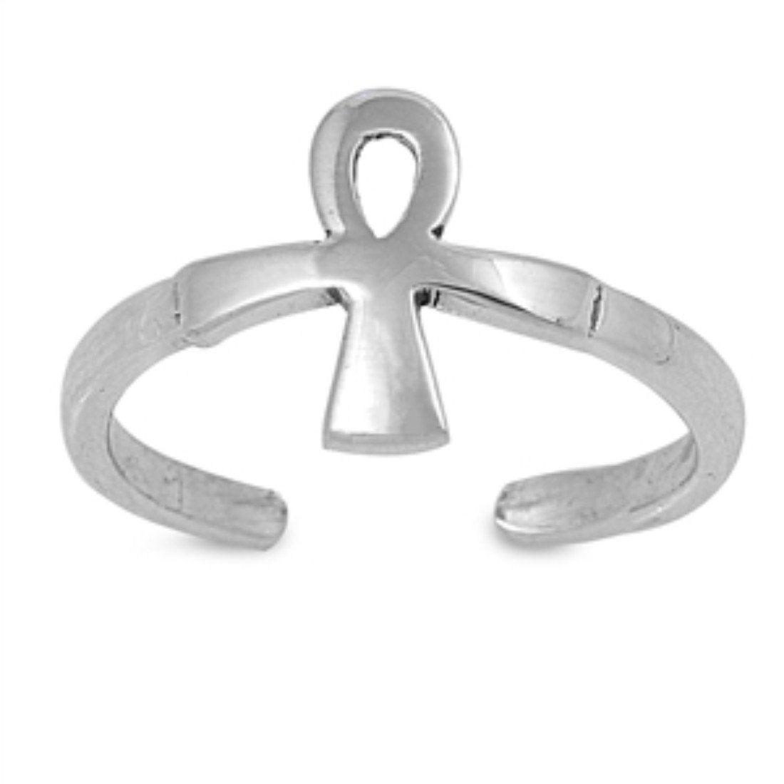 Ankh Adjustable Silver Toe Ring Band 925 Sterling Silver