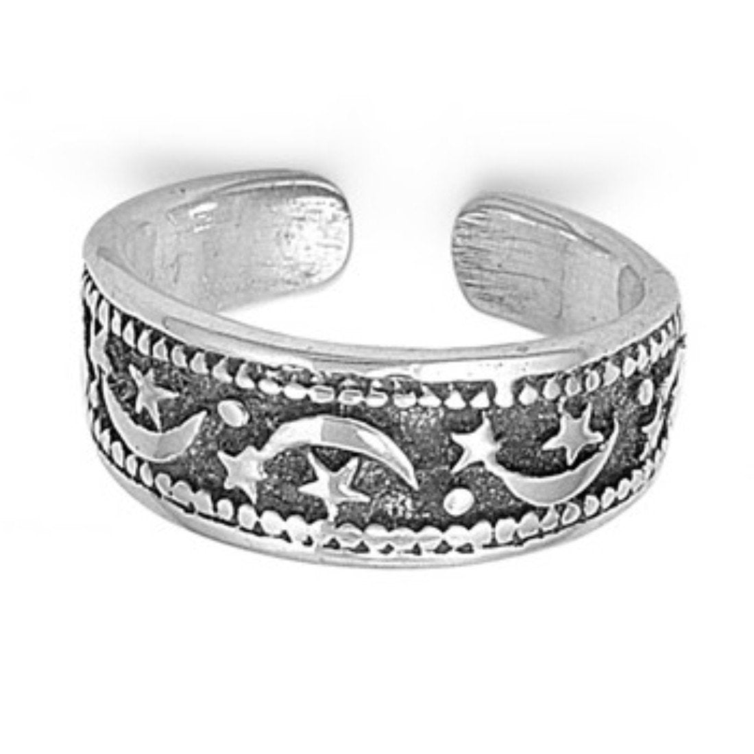 Moon & Star Adjustable Silver Toe Ring Band 925 Sterling Silver (6mm)