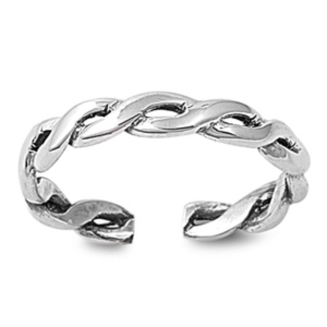 Silver Twist Braid Toe Ring Adjustable Band 925 Sterling Silver (3mm)