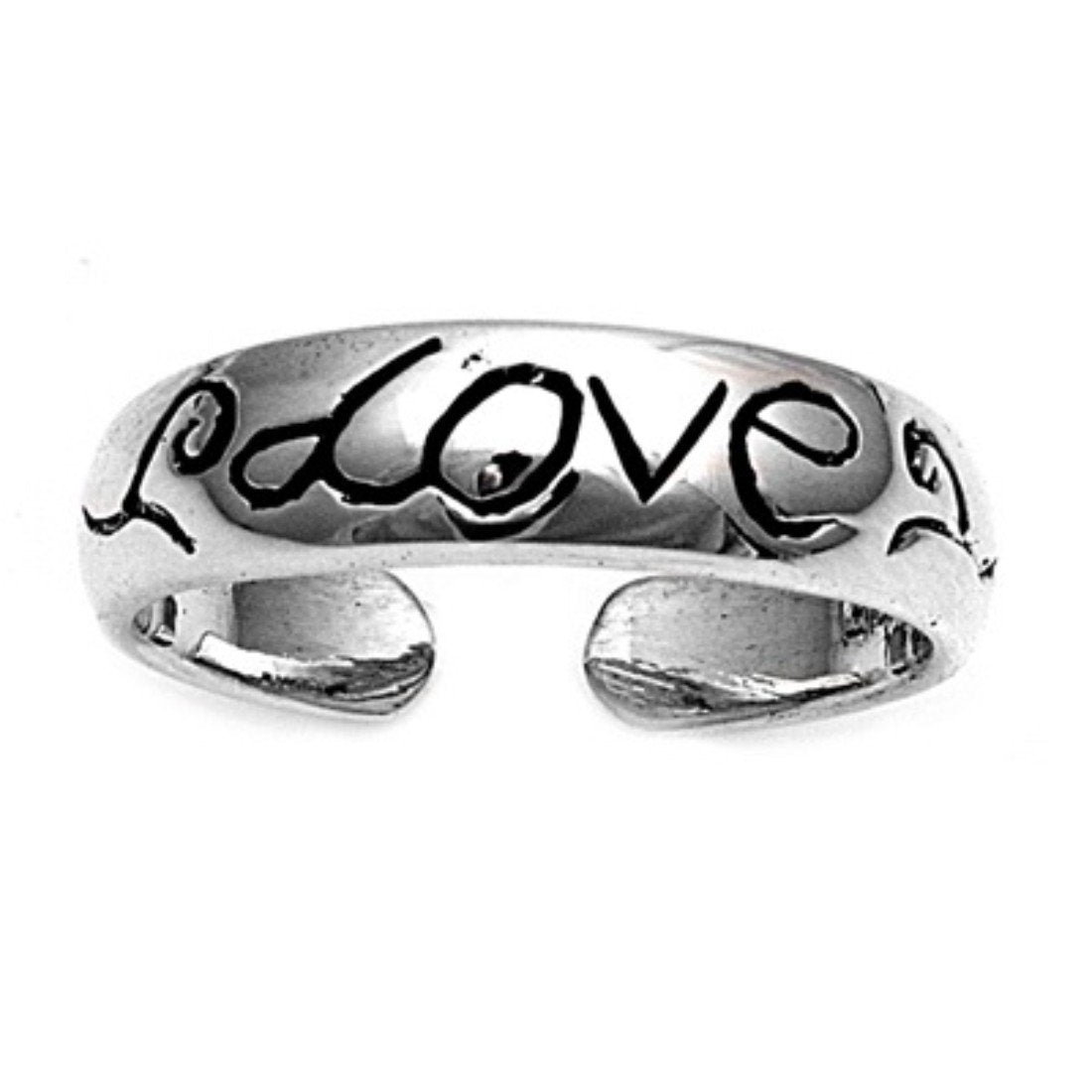 Love Adjustable Silver Toe Ring Band 925 Sterling Silver (5mm)