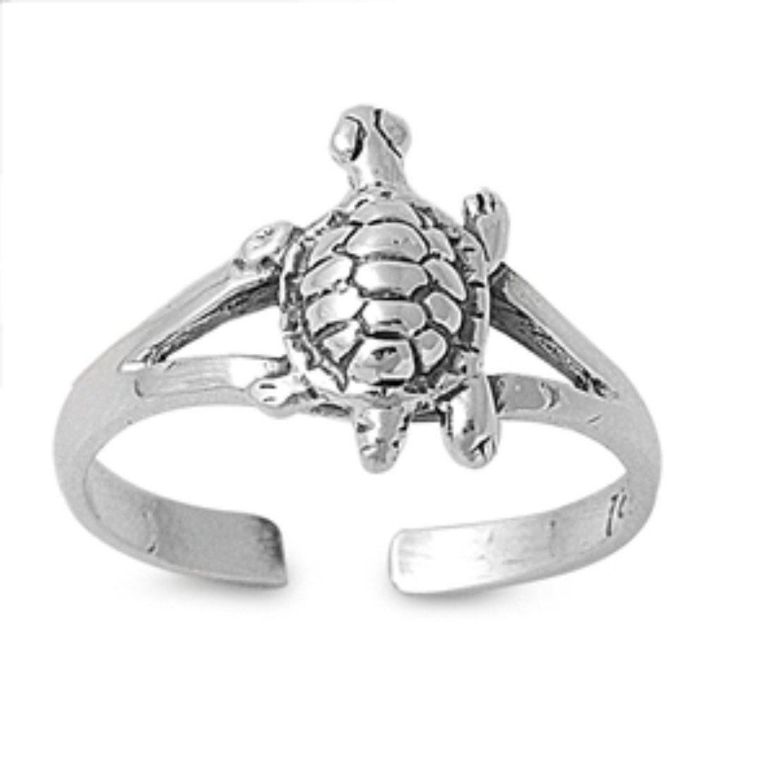 Silver Toe Ring Turtle Adjustable Band 925 Sterling Silver (10mm)