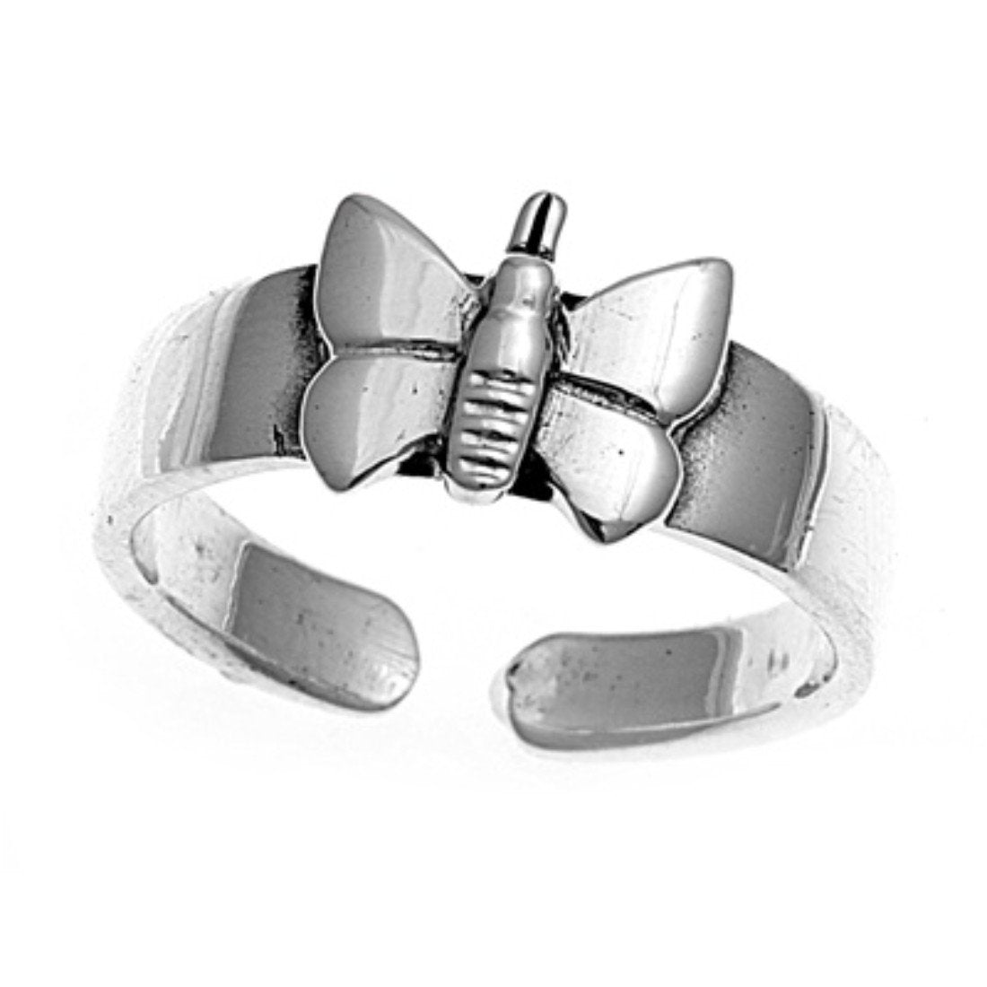 Butterfly Silver Toe Ring Adjustable Band 925 Sterling Silver (7mm)