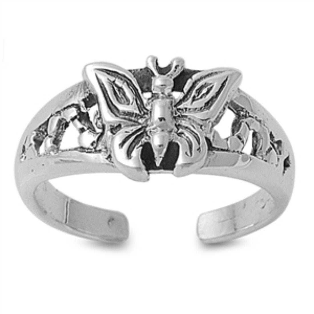 Adjustable Butterfly Silver Toe Ring Band 925 Sterling Silver (8mm)