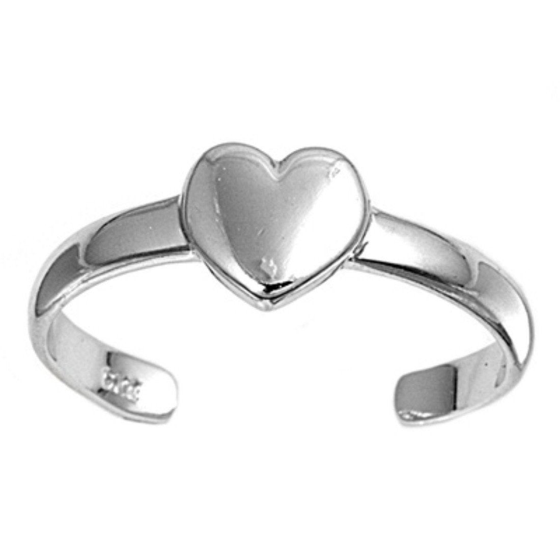 Heart Silver Toe Ring Adjustable Band 925 Sterling Silver (5mm)
