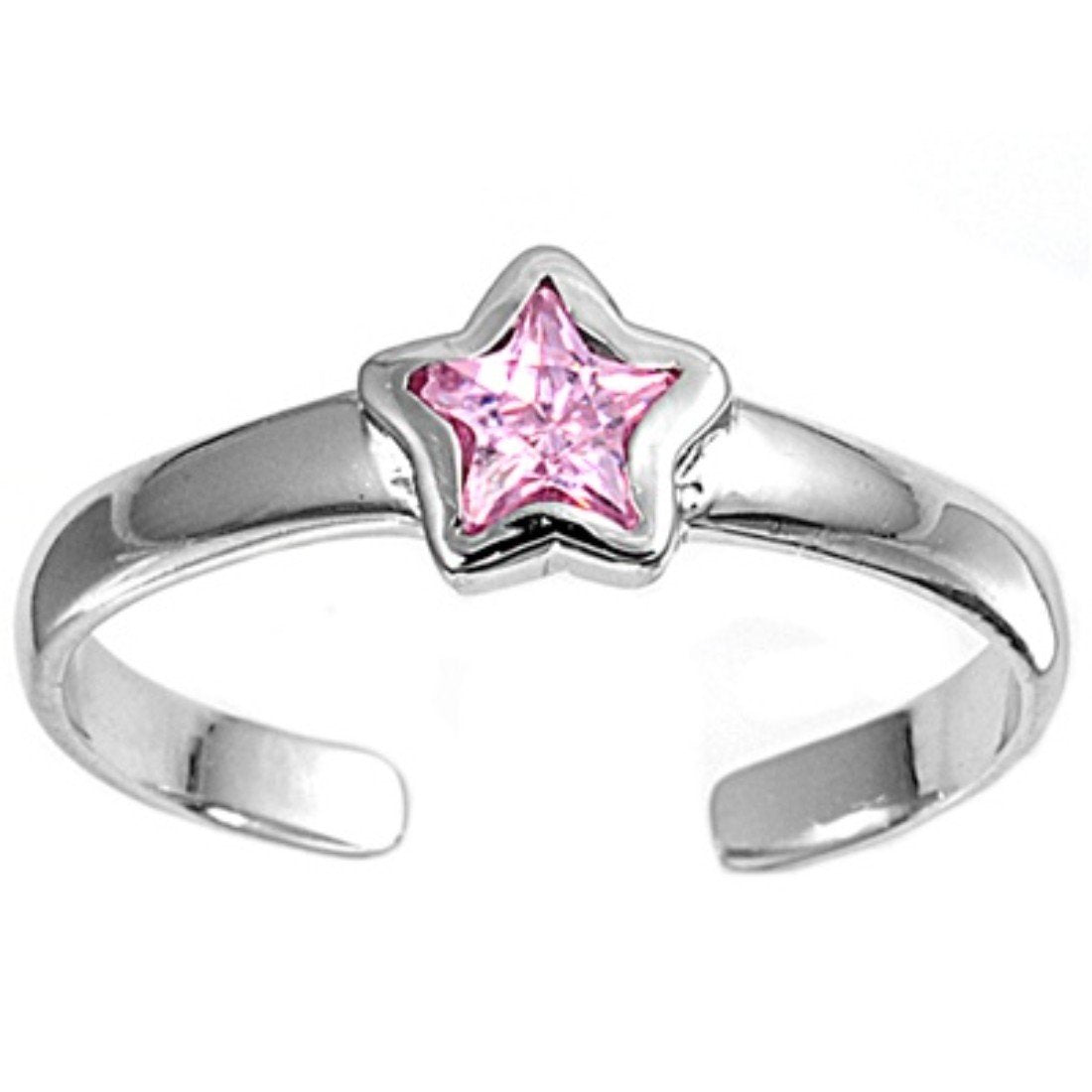 Silver Toe Ring Star Simulated Cubic Zirconia 925 Sterling Silver (2mm)