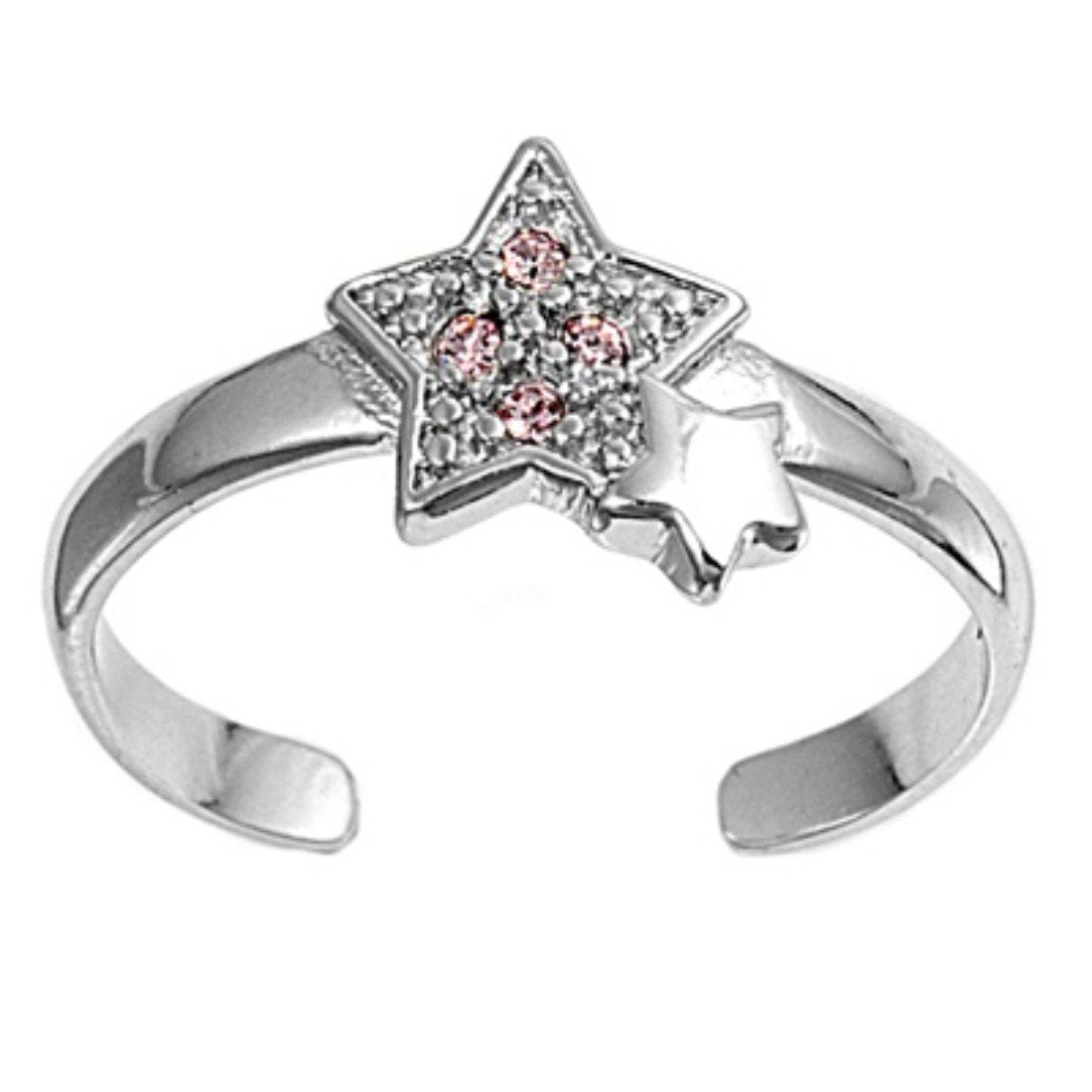Silver Toe Ring Star Simulated Cubic Zirconia Adjustable 925 Sterling Silver (8mm)