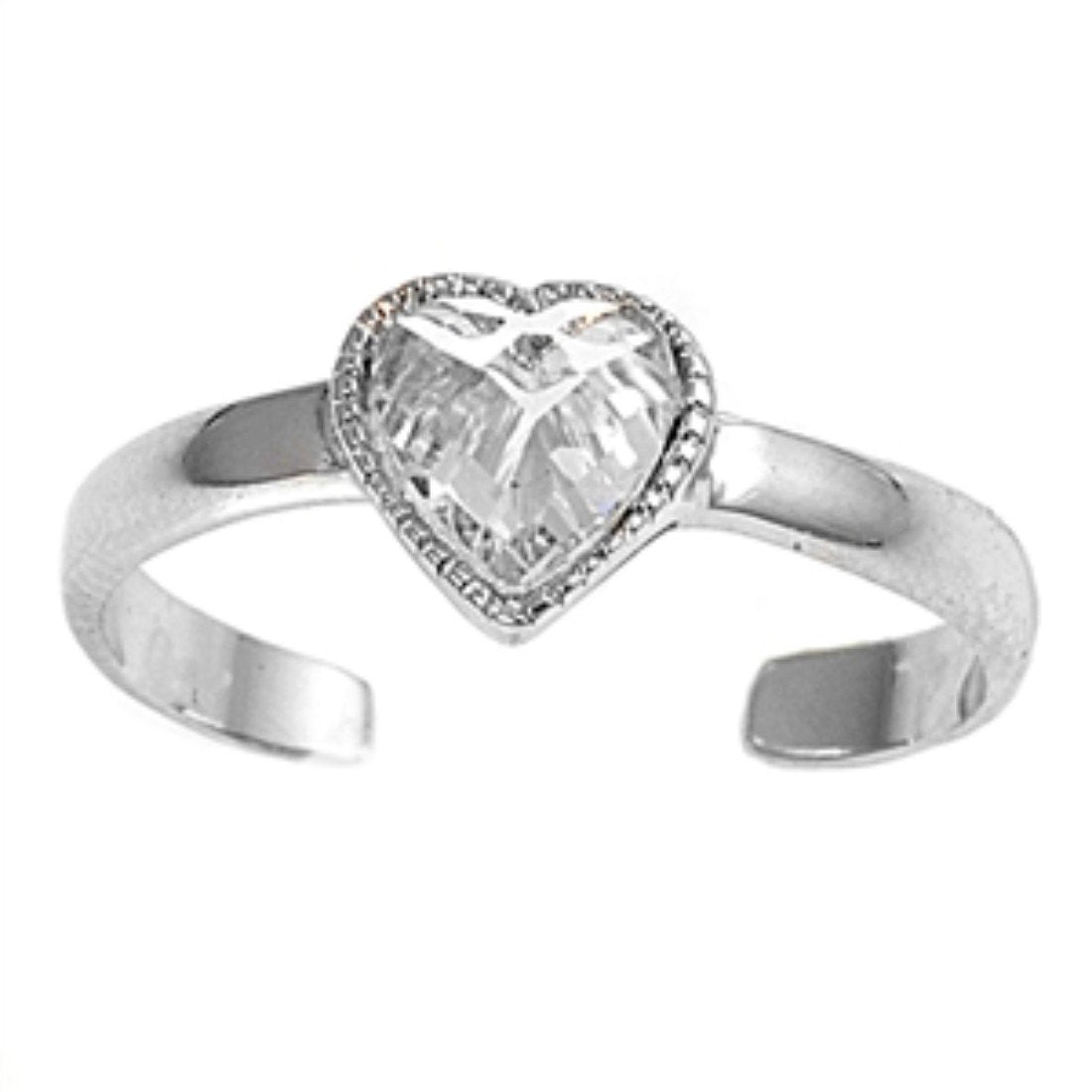 Silver Toe Ring Heart Simulated Cubic Zirconia Adjustable 925 Sterling Silver (6mm)