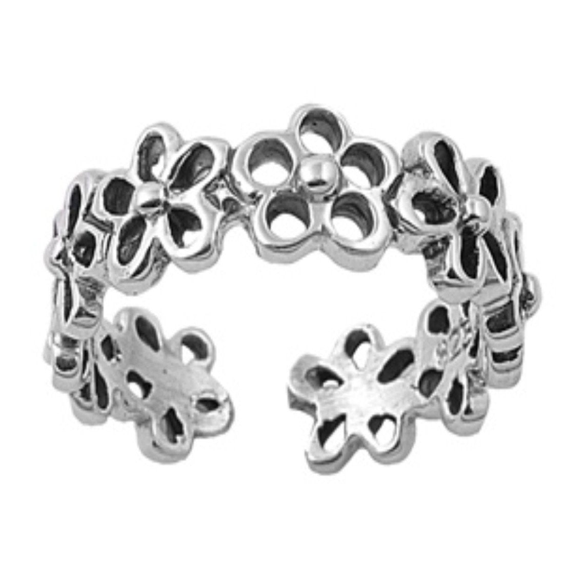 Plumeria Silver Toe Ring Adjustable Band 925 Sterling Silver (5mm)