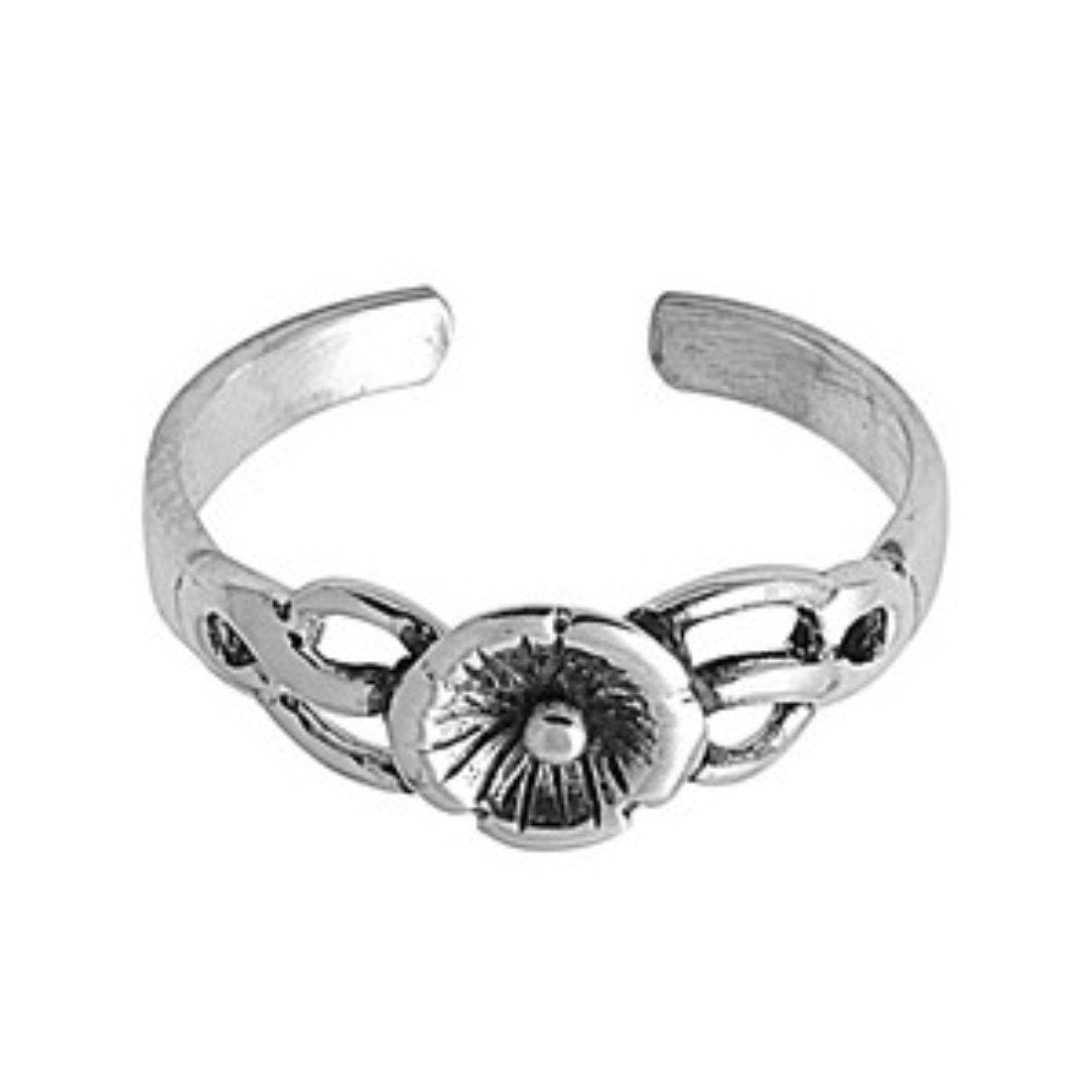 Plumeria Silver Toe Ring Band Adjustable 925 Sterling Silver (6mm)