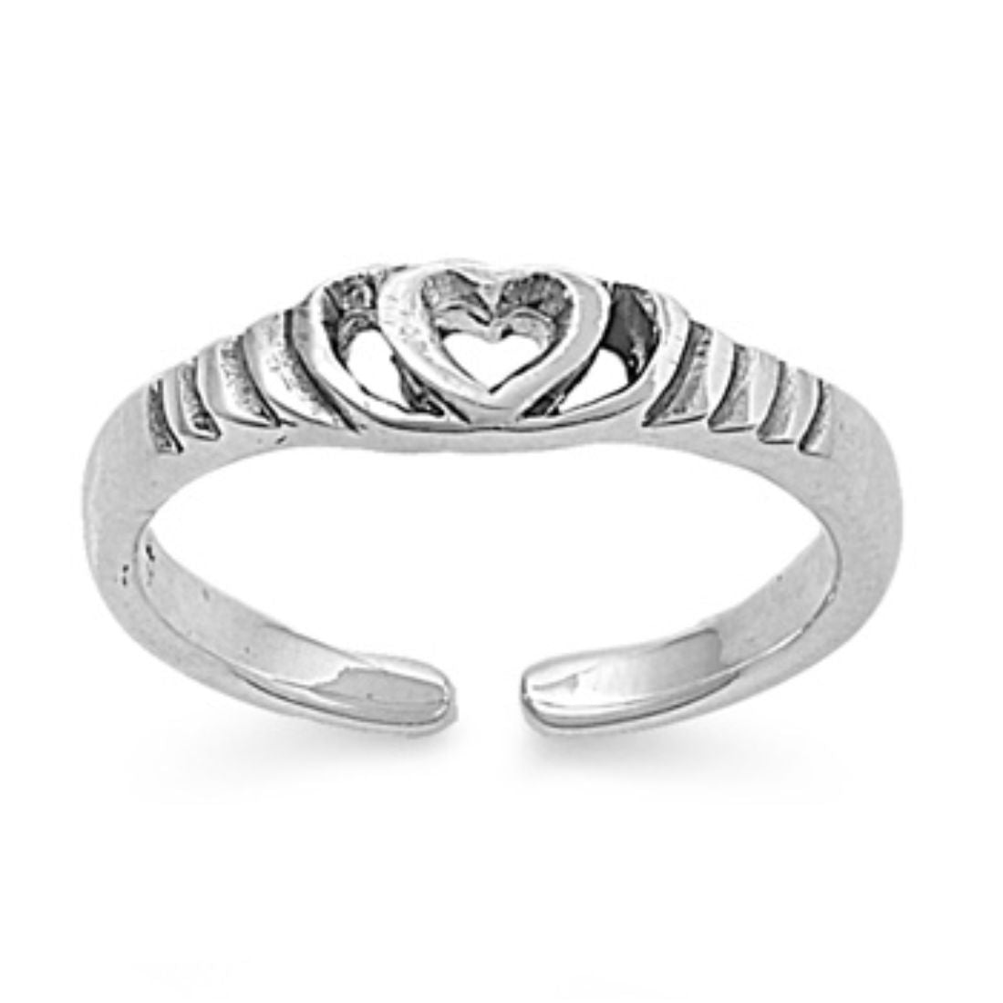 Heart Silver Toe Ring Band Adjustable 925 Sterling Silver (4mm)