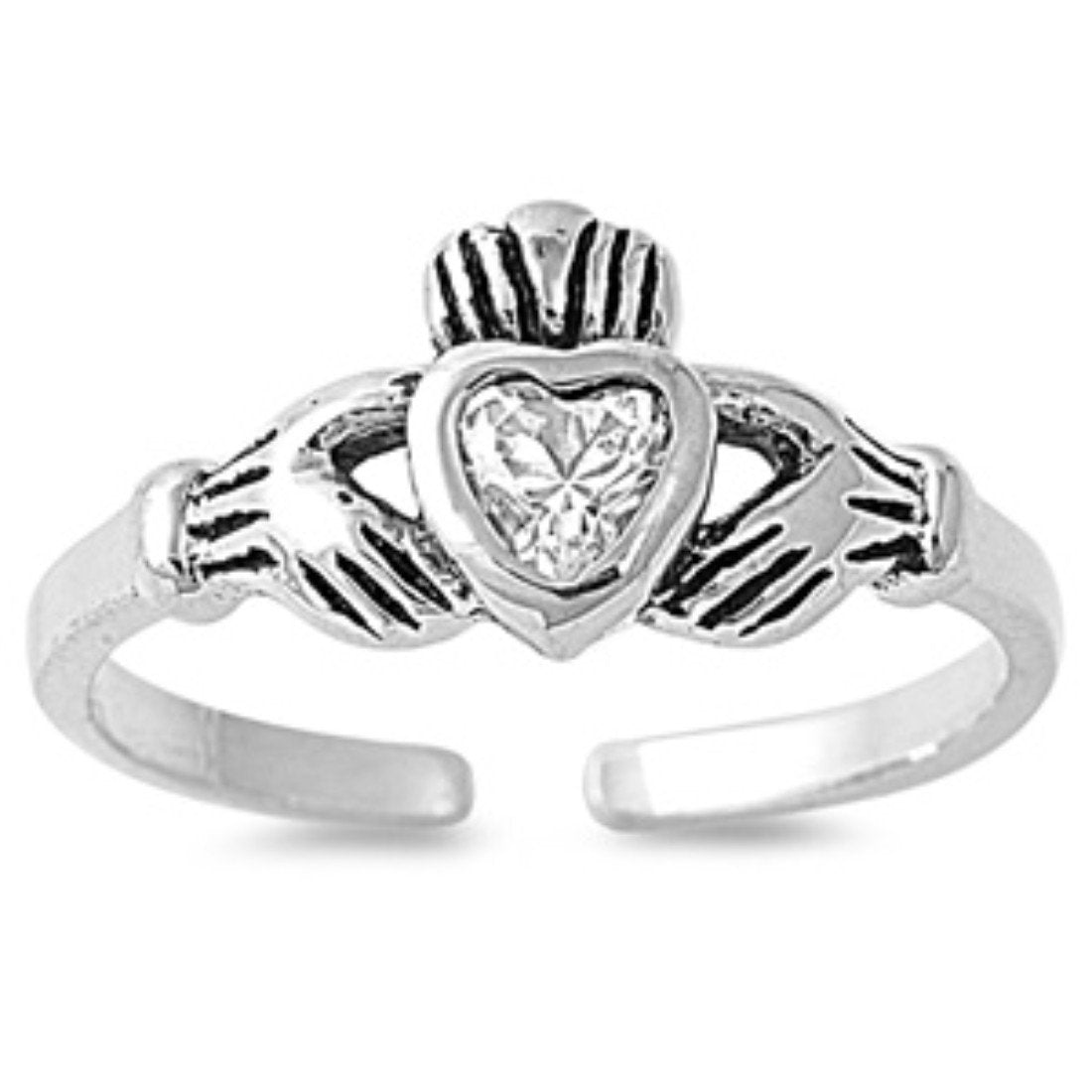 Claddagh Adjustable Silver Toe Ring Band Simulated Cubic Zirconia 925 Sterling Silver (7mm)