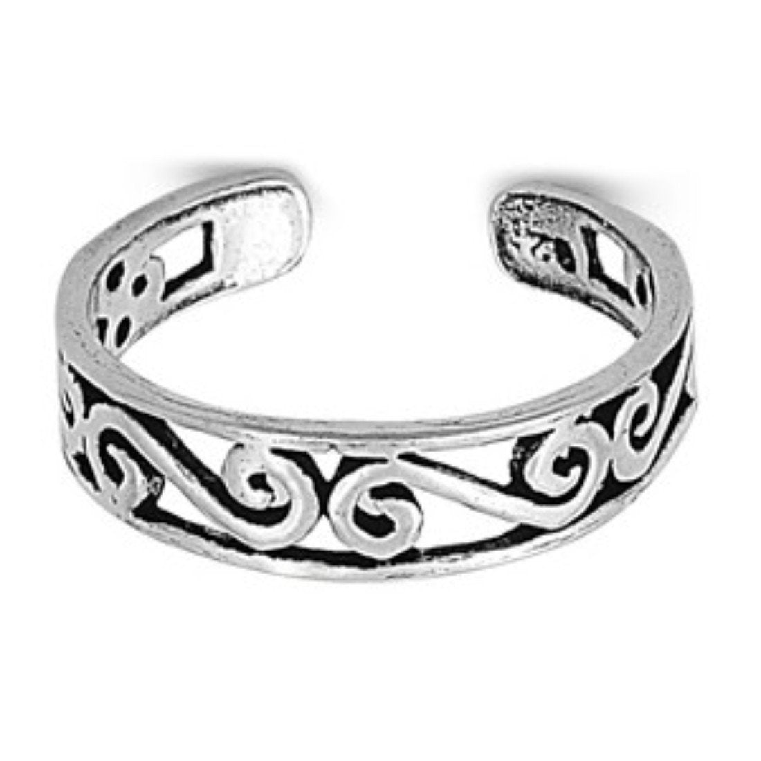 Adjustable Silver Toe Ring Band 925 Sterling Silver (4mm)