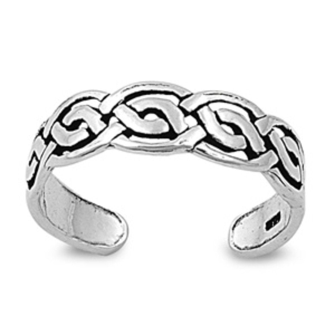 Celtic Toe Ring Adjustable Band Fashion Jewelry 925 Sterling Silver (5mm)