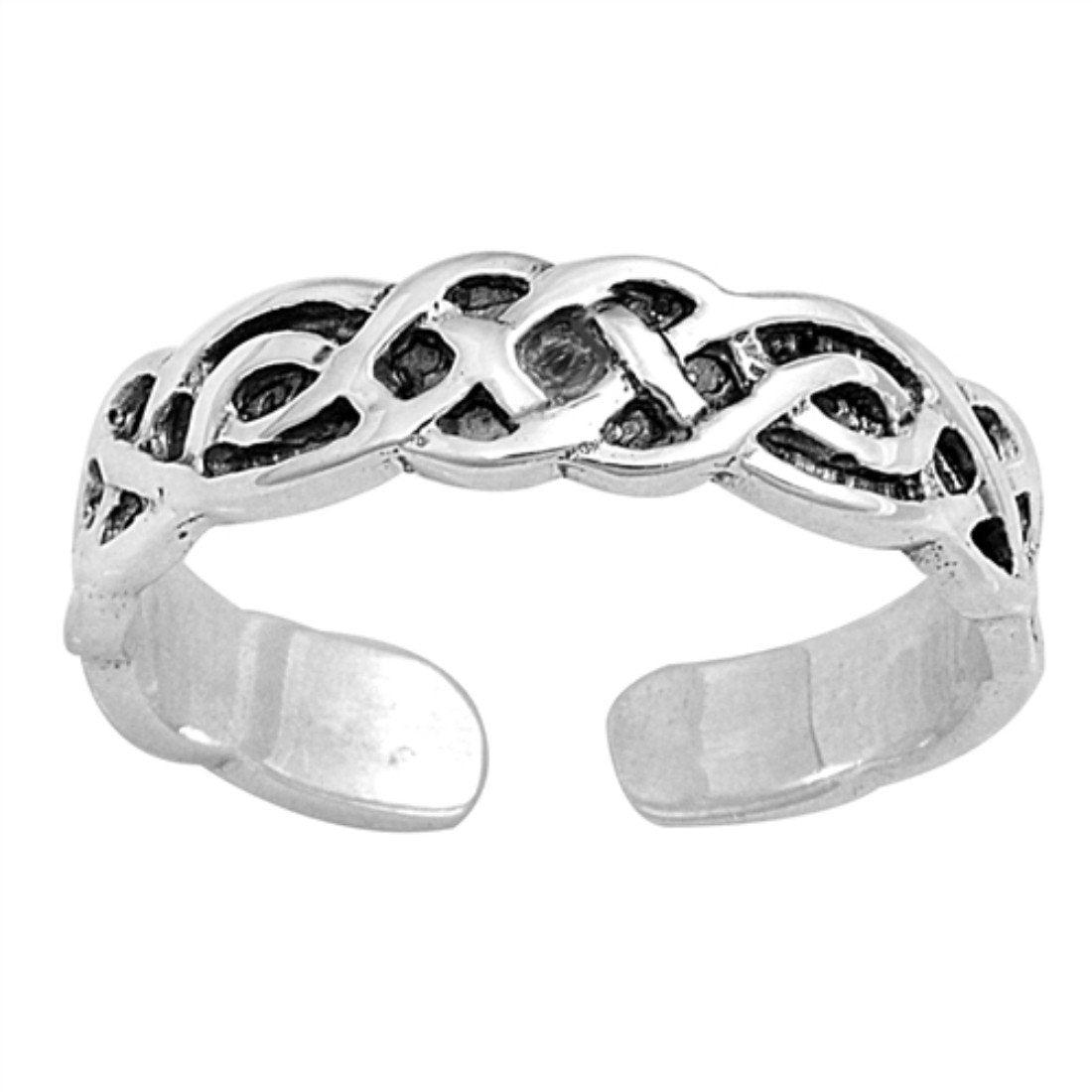 Celtic Silver Toe Ring Adjustable Band 925 Sterling Silver (4mm)