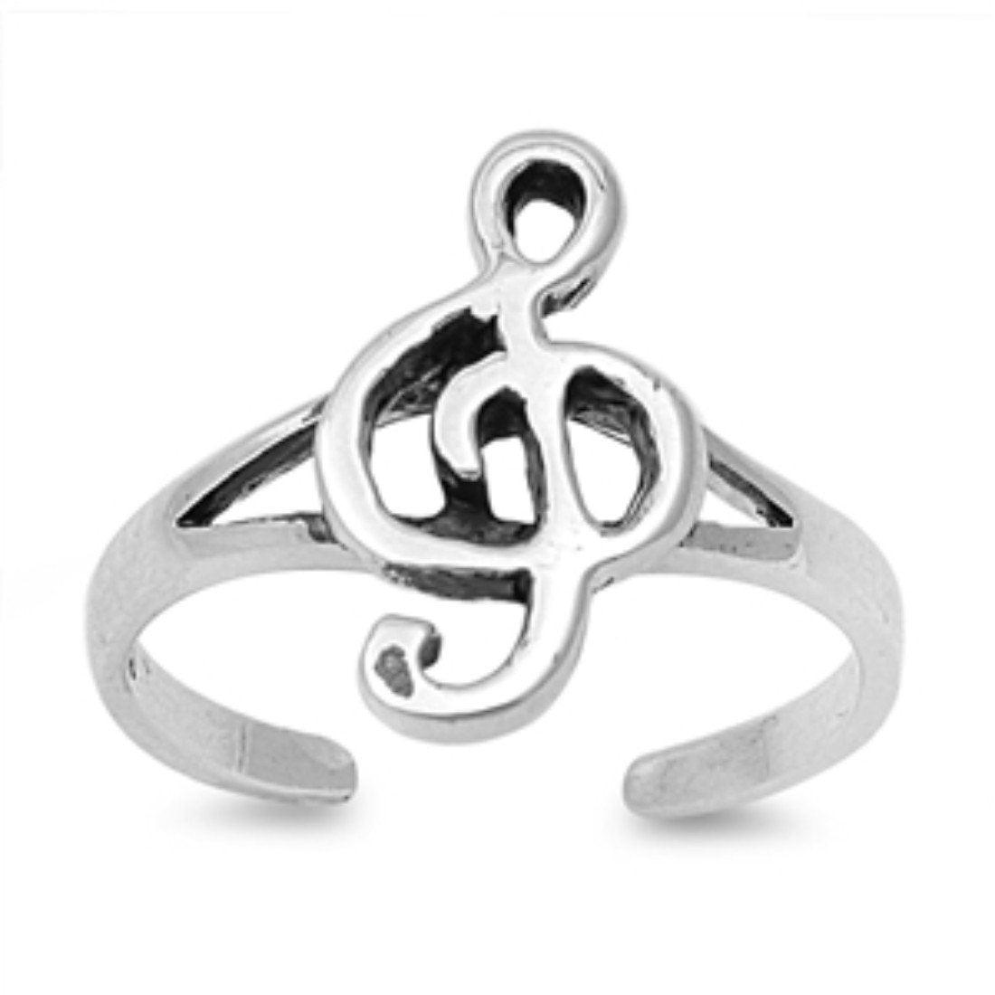 Music Note Adjustable Silver Toe Ring Band 925 Sterling Silver (12mm)
