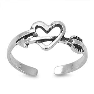 Heart With Arrow Silver Toe Ring Adjustable 925 Sterling Silver (6mm)