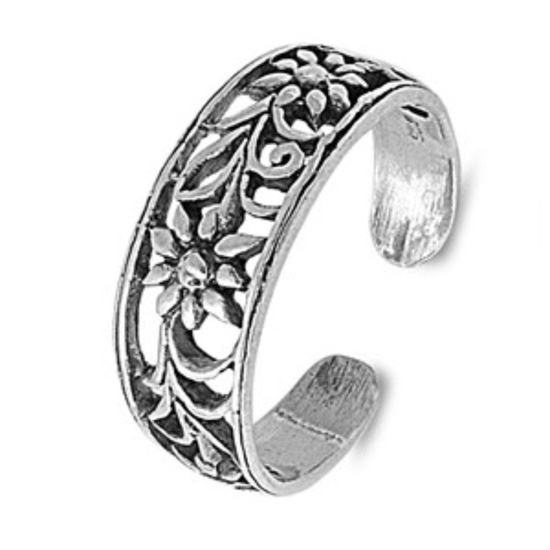 Flower Adjustable Silver Toe Ring Band For Women 925 Sterling Silver (6mm)