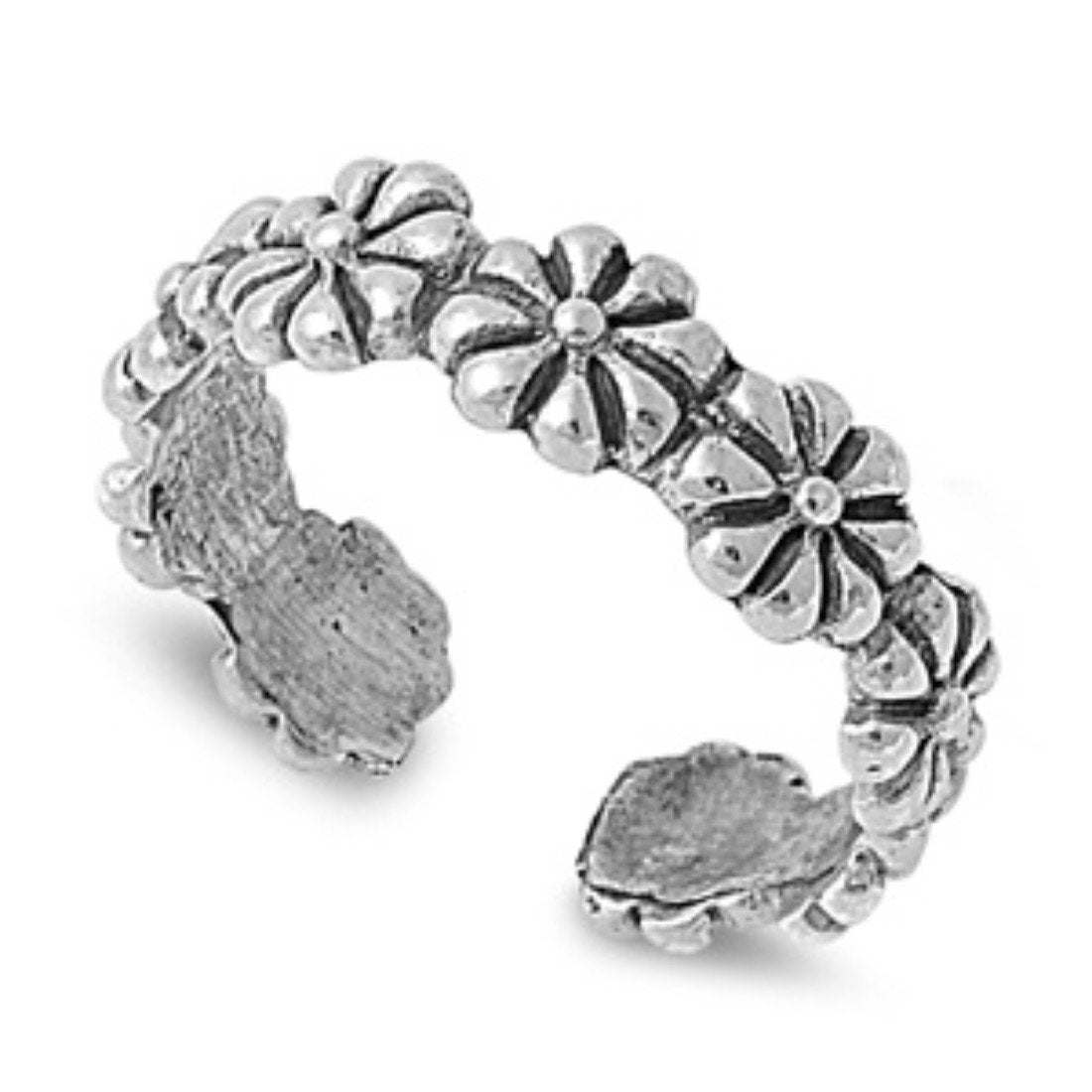 Flower Silver Toe Ring Adjustable Band 925 Sterling Silver (4mm)