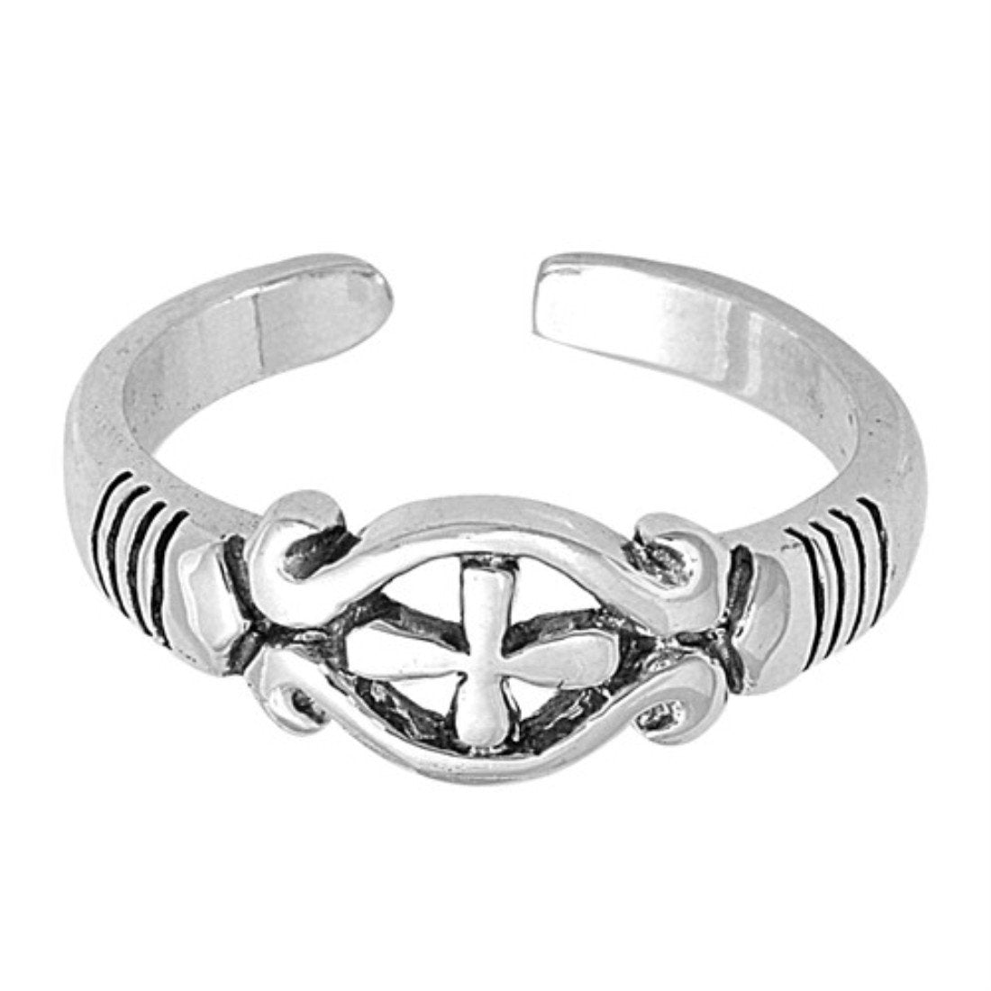 Cross Silver Toe Ring Band Adjustable 925 Sterling Silver (5mm)