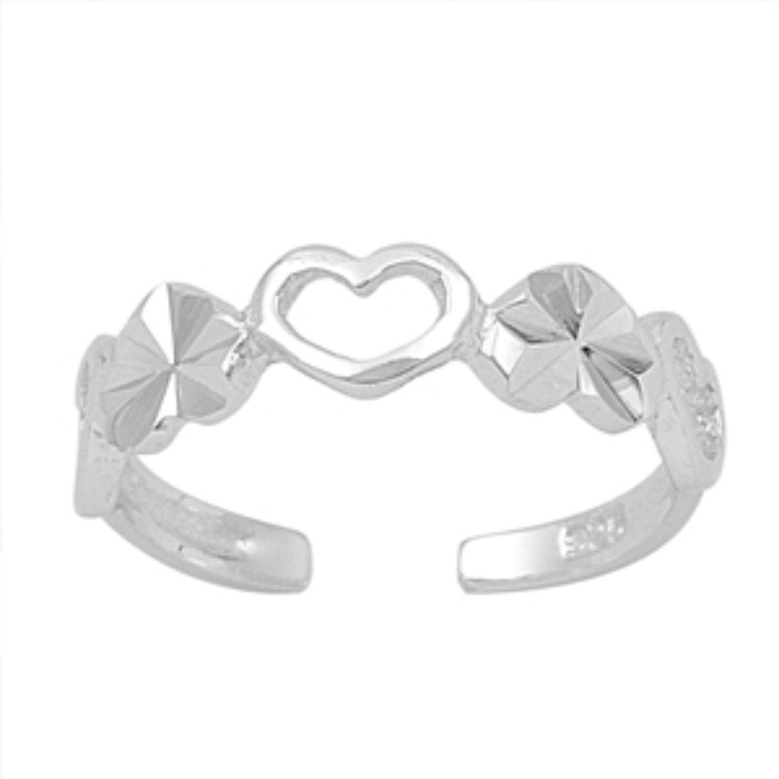 Heart Toe Ring Adjustable Band 925 Sterling Silver (4mm)