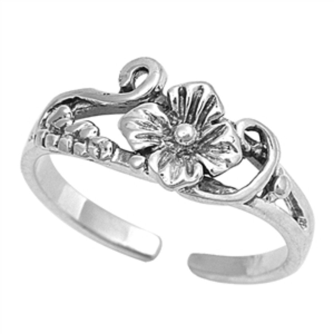 Flower Toe Ring Adjustable Band 925 Sterling Silver For Women (6mm)