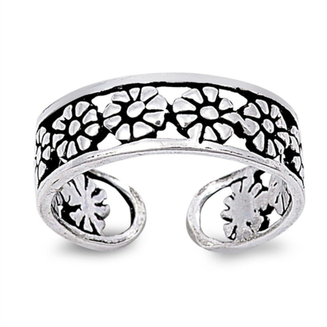 Flower Silver Toe Ring Adjustable Band 925 Sterling Silver For Women (5mm)