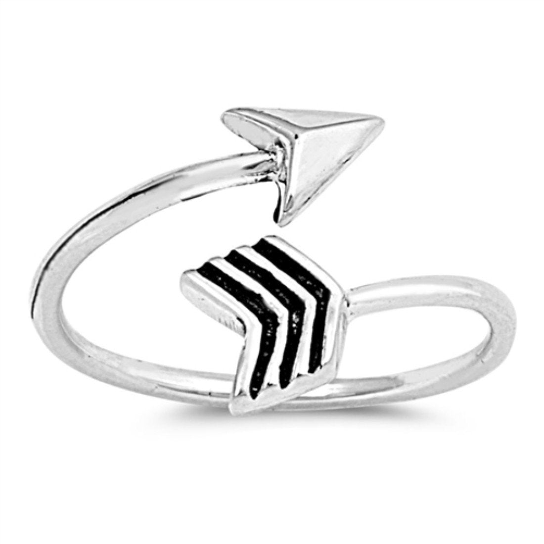 Arrow Silver Toe Ring Adjustable Band 925 Sterling Silver (9mm)