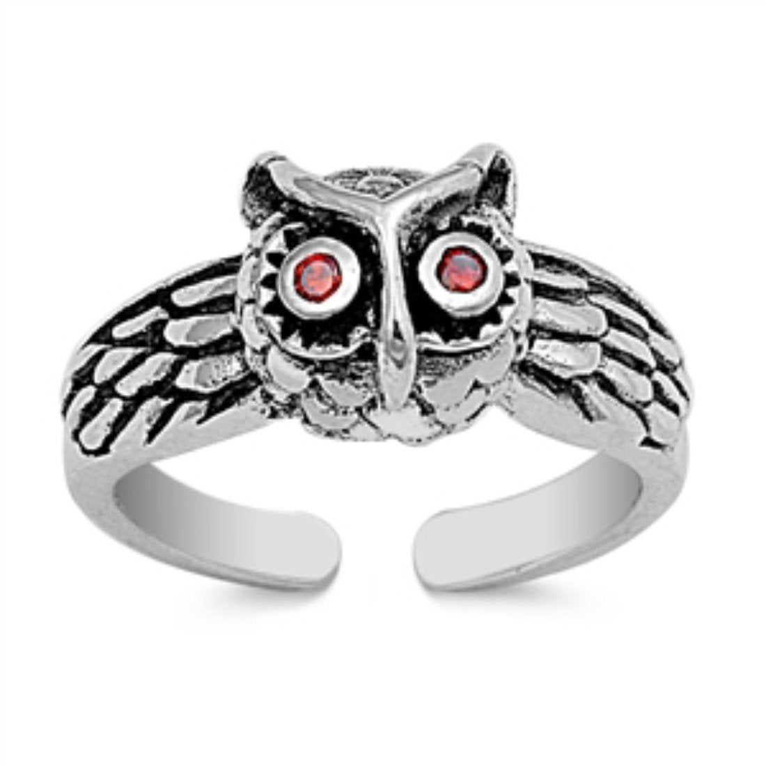 Toe Ring Owl Toe Ring 925 Sterling Silver Simulated Deep Red Garnet (8mm)
