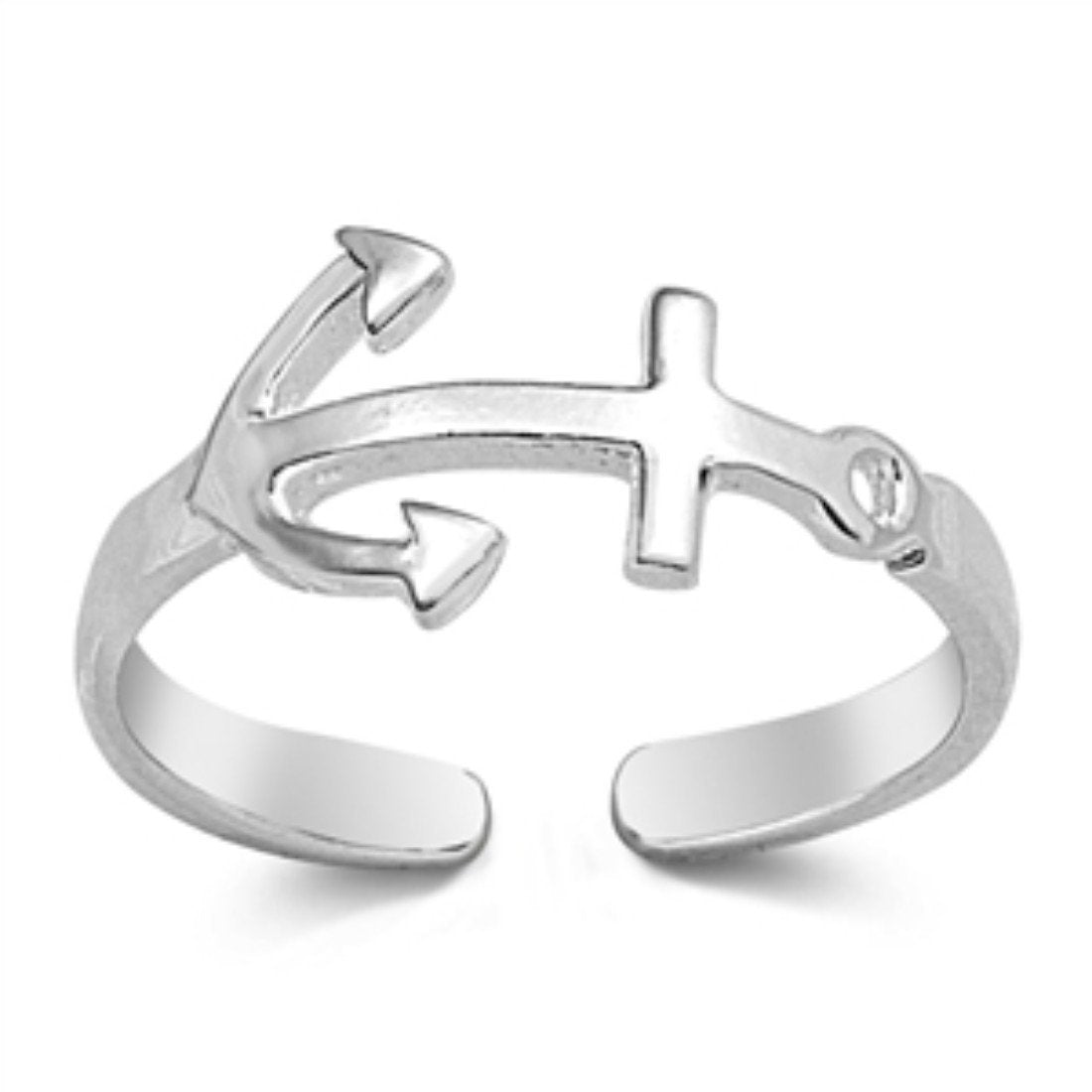Sideways Anchor Adjustable Toe Rings Band Foot Jewelry 925 Sterling Silver (7mm)