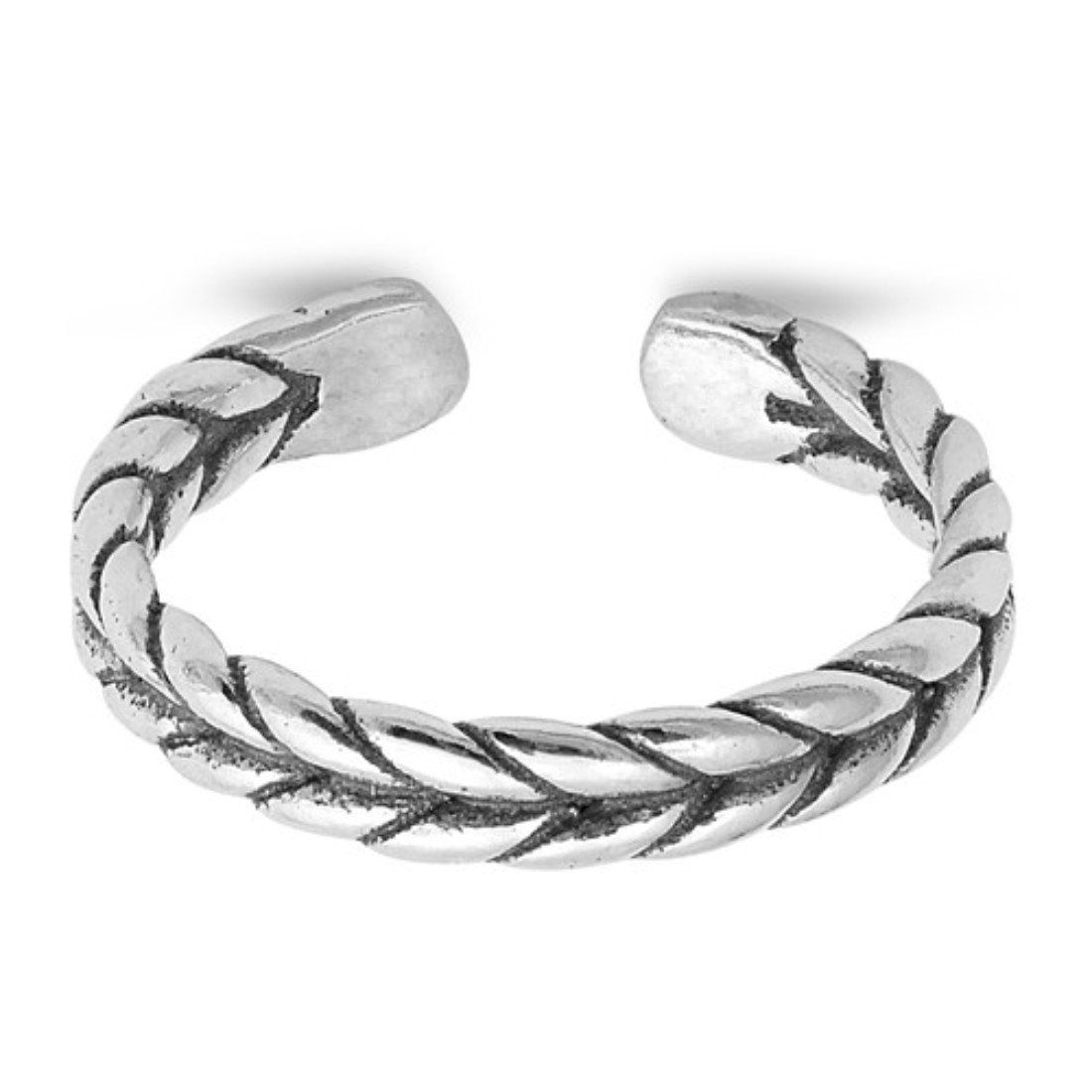 Braid Adjustable Silver Toe Ring Band 925 Sterling Silver (3mm)