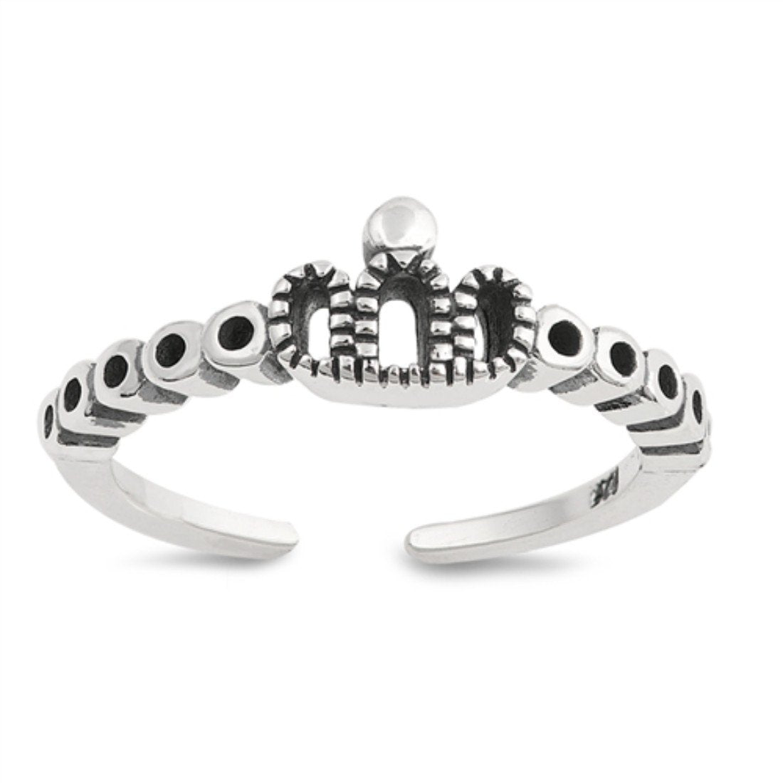 Mini Crown Silver Toe Ring Adjustable Band 925 Sterling Silver (5mm)