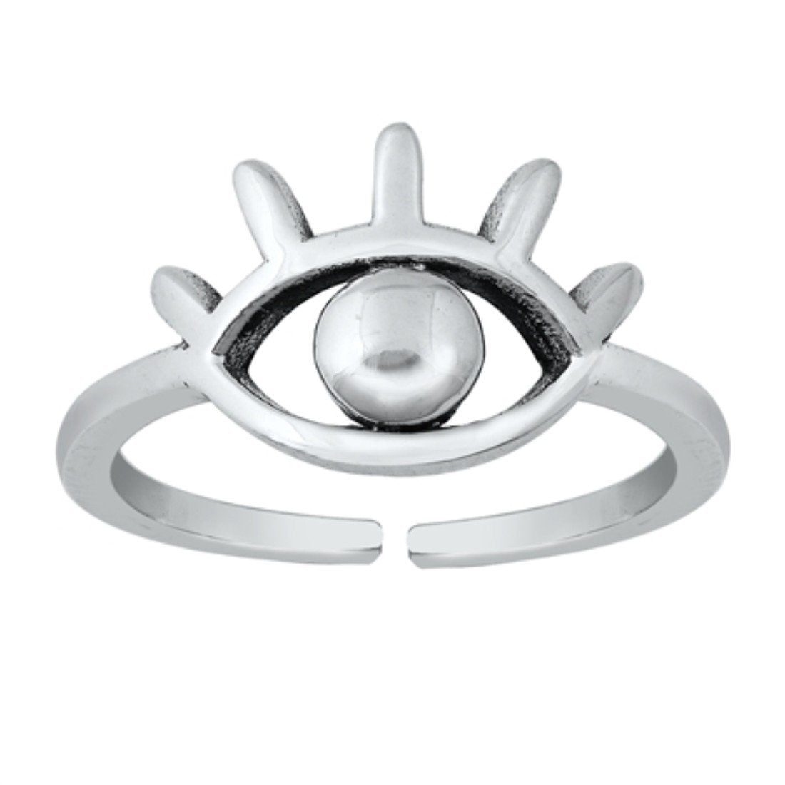 Eye Toe Ring Adjustable Band Round 925 Sterling Silver (9mm)