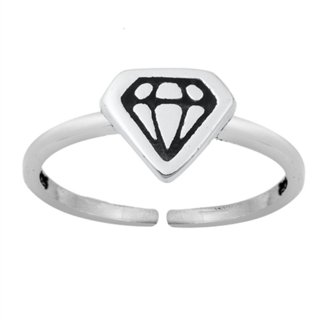 Hammered DC Style Adjustable Toe Ring 925 Sterling Silver(6.5mm)
