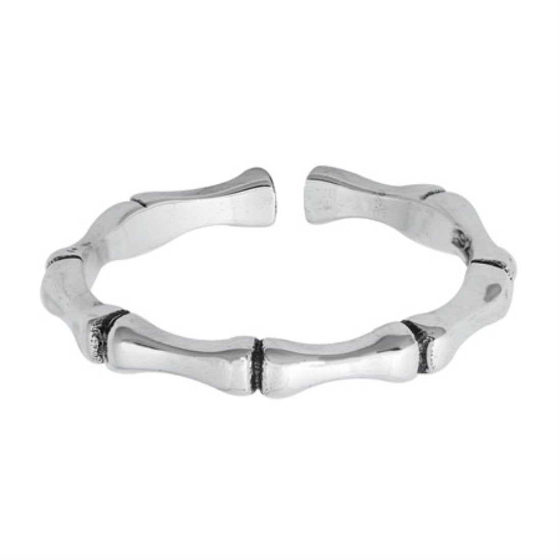Adjustable Bamboo Toe Ring Band 925 Sterling Silver (2MM)
