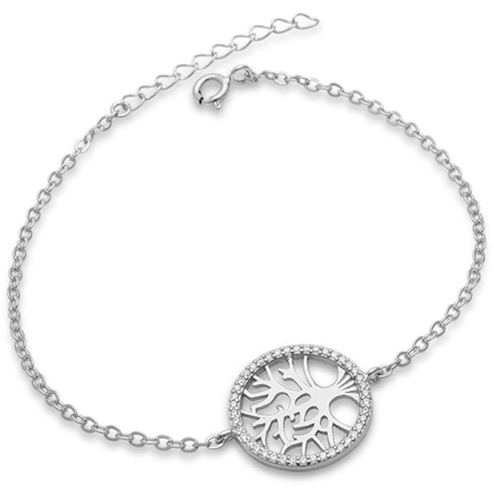 Round Tree of Life Bracelet Round Cubic Zirconia 925 Sterling Silver Choose Color - Blue Apple Jewelry