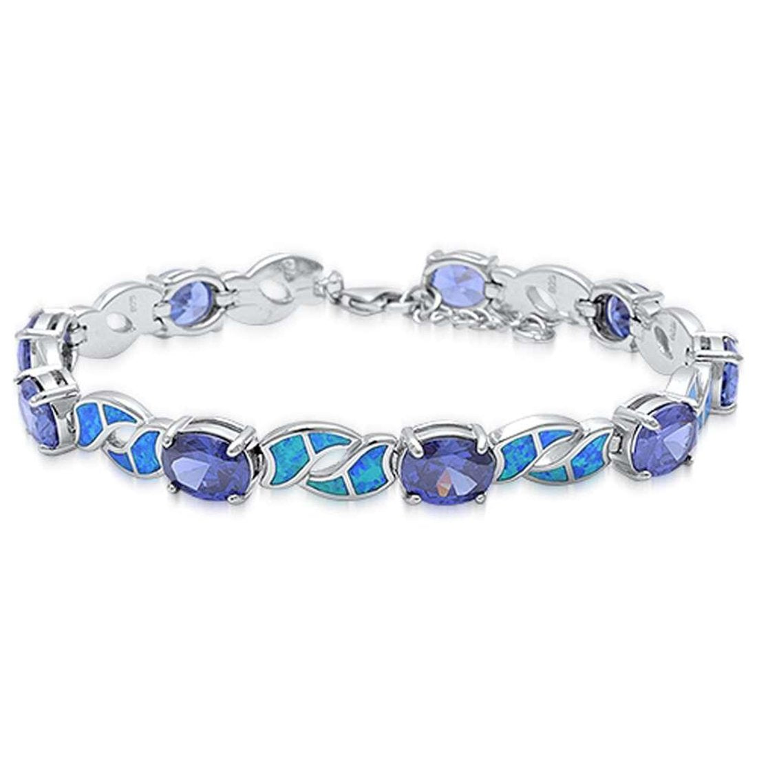 Fashion Bracelet Oval Simulated Tanzanite Lab Created Blue Opal 925 Stelring Silver