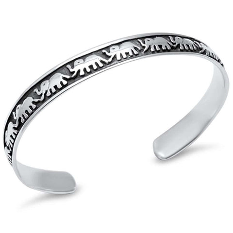 Elephants Bangle Bracelet 925 Sterling Silver