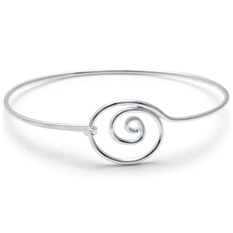 Plain Swirl Spiral Bangle Bracelet 925 Sterling Silver