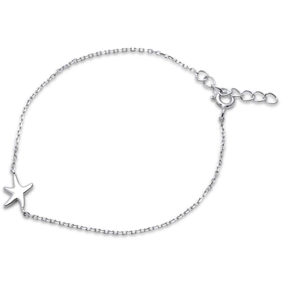 "Dainty Starfish Bracelet 925 Sterling Silver 6""+1"" Extension"