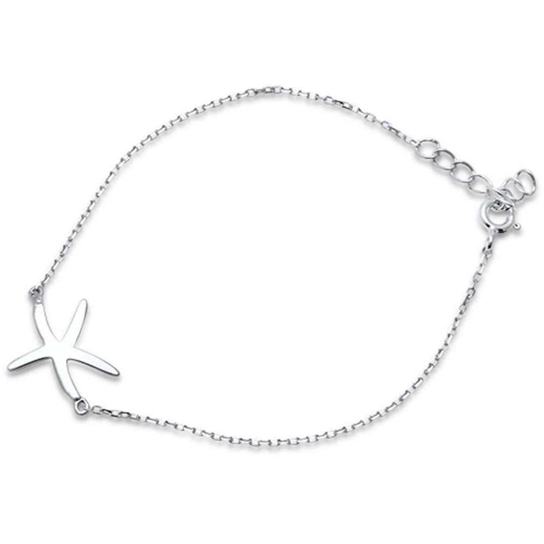 "Fashion Starfish Bracelet 925 Sterling Silver 6""+1"" Extension"