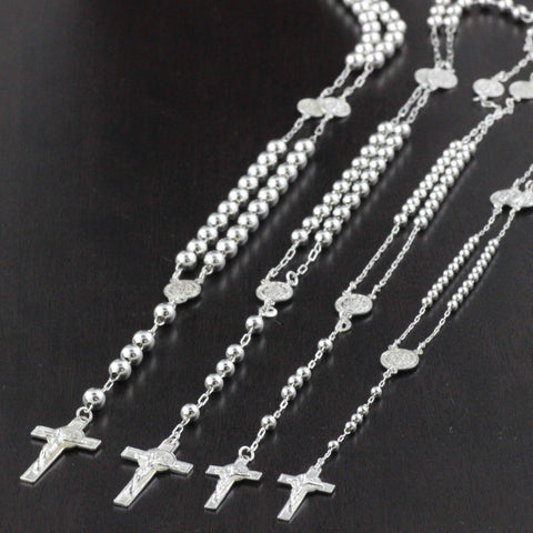 Mens Womens Plain Beads San Benito Rosary Necklace Solid 925 Sterling Silver