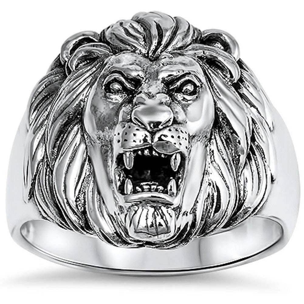 Lion Ring Solid 925 Sterling Silver Lion Head Ring Men Women Unisex Lion Band Plain Simple