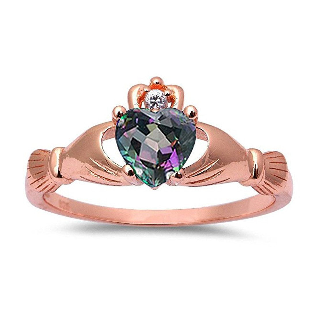 Accent Heart Promise Claddagh Ring Rainbow Cubic Zirconia Round Rose Gold Plated 925 Sterling Silver