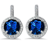 Halo Bridal Wedding Engagement Leverback Earrings Round CZ 925 Sterling Silver Choose Color - Blue Apple Jewelry