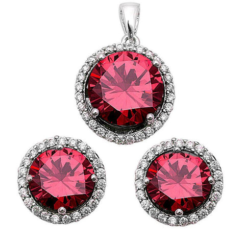 Halo Jewelry Set Pendant Earring Matching Set Wedding Engagement Bridal 925 Sterling Silver Choose Color