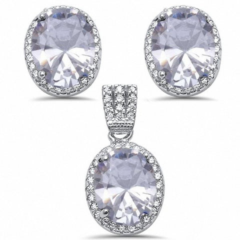 Halo Jewelry Pendant Earring Matching Set Oval Simulated Blue Sapphire And Round CZ Sterling Silver Choose Color