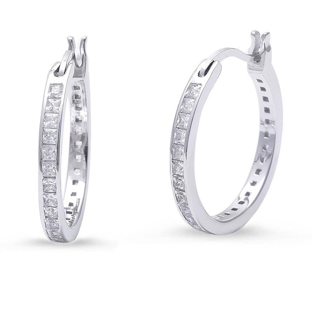 20mm Round Hoop Earrings Princess Cut Square Invisible Cubic Zirconia 925 Sterling Silver - Blue Apple Jewelry