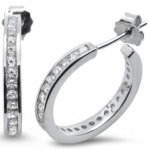 Hoop Earrings Channel Set Round Cubic Zirconia 925 Sterling Silver Choose Color